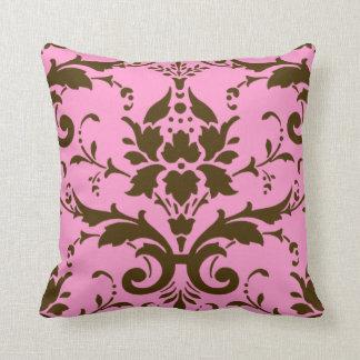 Modern Vintage Brown Damask on Pink Throw Pillow Throw Cushion