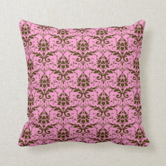 Modern Vintage Brown Damask on Pink Throw Pillow Throw Cushions