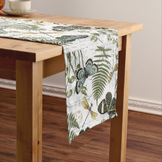 modern vintage butterflies and dragonflies short table runner