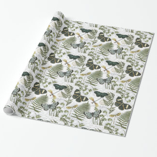 modern vintage butterflies and dragonflies wrapping paper