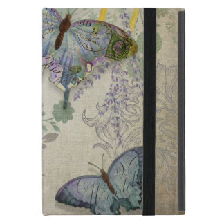 Modern Vintage Butterfly Wallpaper Floral Pattern iPad Mini Covers