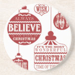 modern vintage Christmas ornaments Coaster