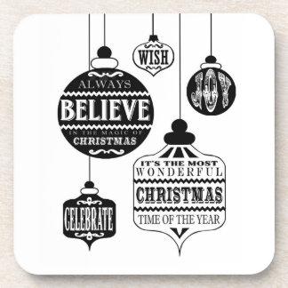 modern vintage Christmas ornaments Drink Coasters