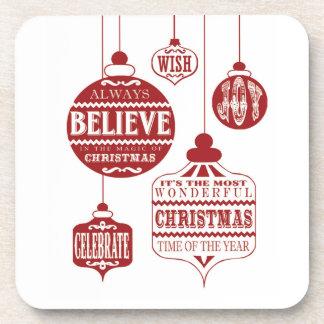 modern vintage Christmas ornaments Beverage Coasters