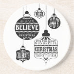 modern vintage Christmas ornaments Drink Coasters