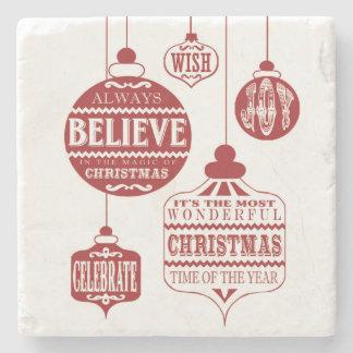 modern vintage Christmas ornaments Stone Coaster