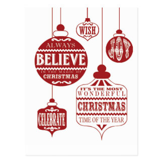 modern vintage Christmas ornaments Postcard