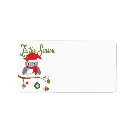 modern vintage christmas woodland owl label