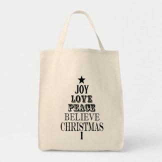 modern vintage christmas word tree canvas bag