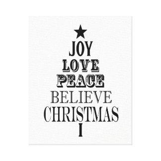 modern vintage christmas word tree canvas print