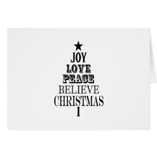 modern vintage christmas word tree card