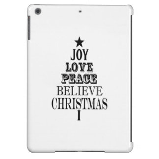 modern vintage christmas word tree iPad air cases
