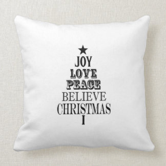 modern vintage christmas word tree pillows