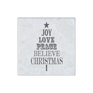 modern vintage christmas word tree stone magnet