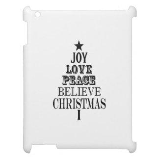 modern vintage christmas word tree iPad cover