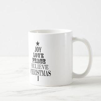 modern vintage christmas word tree coffee mug