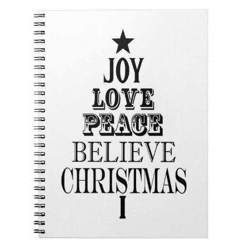 modern vintage christmas word tree notebooks