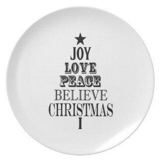 modern vintage christmas word tree party plates