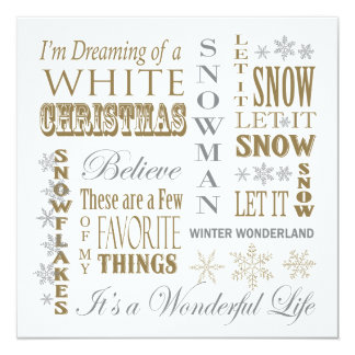 modern vintage christmas words 13 cm x 13 cm square invitation card