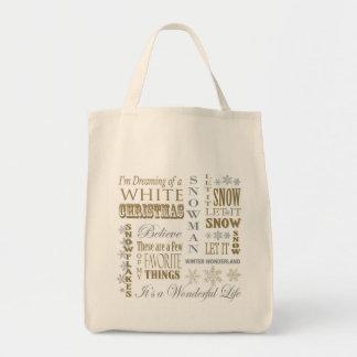 modern vintage christmas words tote bags