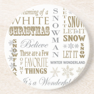 modern vintage christmas words beverage coaster
