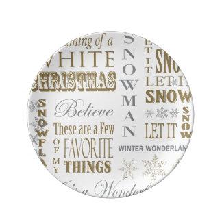 modern vintage christmas words porcelain plate
