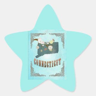 Modern Vintage Connecticut State Map – Aqua Blue Star Sticker