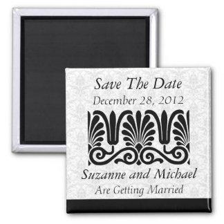 Modern Vintage Damask Scroll Wedding Save the Date Fridge Magnets