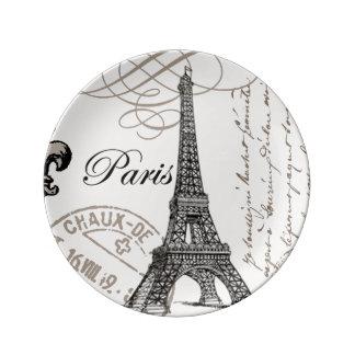 modern vintage Eiffel Tower Porcelain Plate