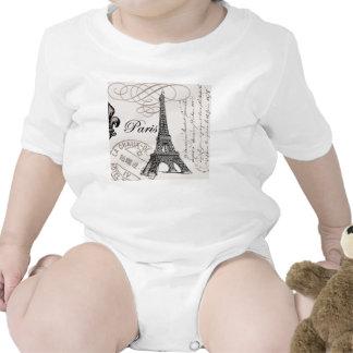 modern vintage Eiffel Tower Baby Bodysuit