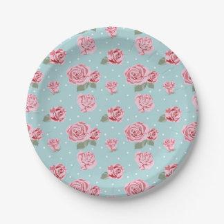 Modern Vintage Elegant Rose Paper Plate