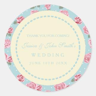 Modern Vintage Elegant Rose Wedding Favor Sticker