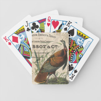 modern vintage fall wild turkey bicycle poker cards