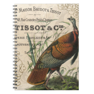 modern vintage fall wild turkey spiral notebook