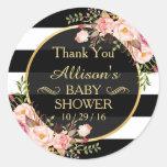 Modern Vintage Floral Decor Baby Shower Thank You Round Sticker