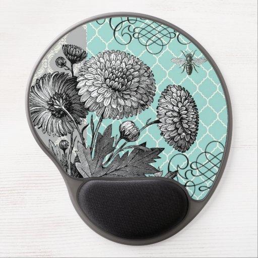Modern vintage floral gel mouse mat