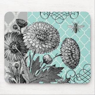 Modern vintage floral mouse pad
