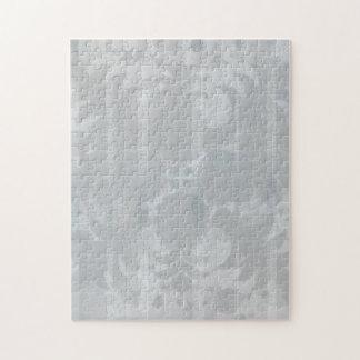 Modern Vintage Floral Silver Grey Pattern Jigsaw Puzzle