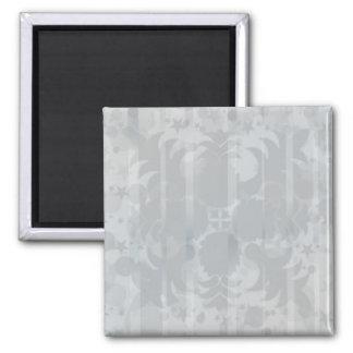 Modern Vintage Floral Silver Grey Pattern Magnet