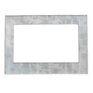 Modern Vintage Floral Silver Grey Pattern Magnetic Picture Frame
