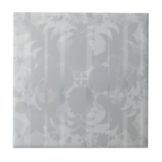 Modern Vintage Floral Silver Grey Pattern Small Square Tile