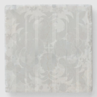 Modern Vintage Floral Silver Grey Pattern Stone Coaster