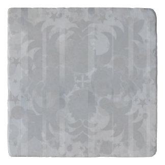 Modern Vintage Floral Silver Grey Pattern Trivet