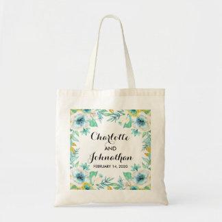 Modern Vintage Floral Wedding Budget Tote Bag