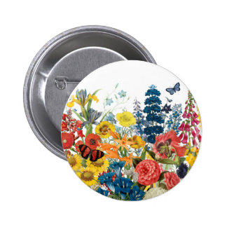 modern vintage flowers 6 cm round badge