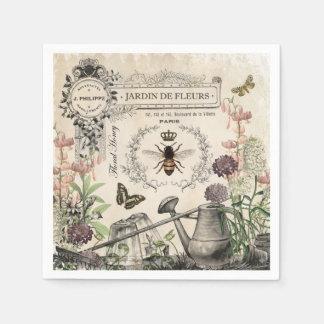 Modern Vintage French Bee garden Paper Napkins