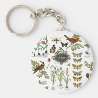modern vintage french botanical birds and flowers key ring
