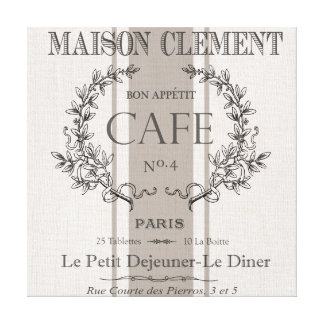 modern vintage french cafe gallery wrap canvas