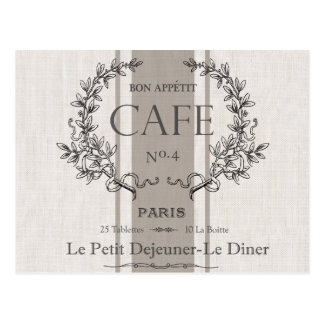 modern vintage french cafe postcard