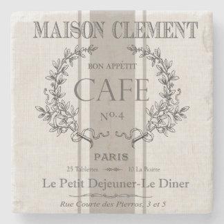 modern vintage french cafe stone coaster
